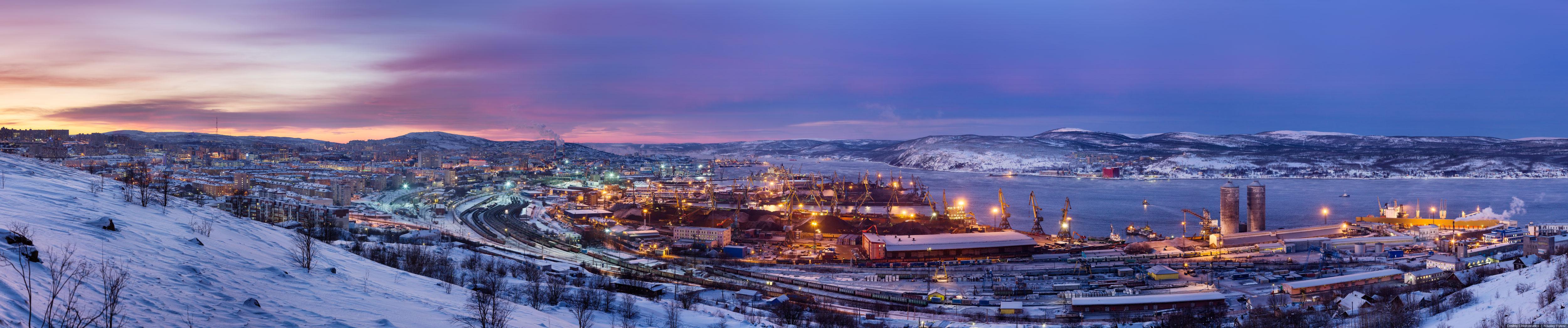 Фотоснимки панорама города мурманска